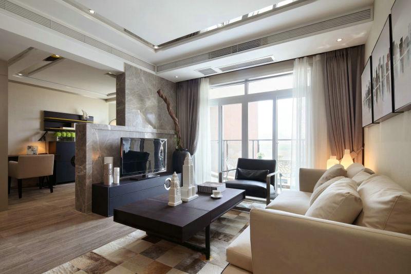 现代风格的二居室,整体以黑白灰以及木色为基